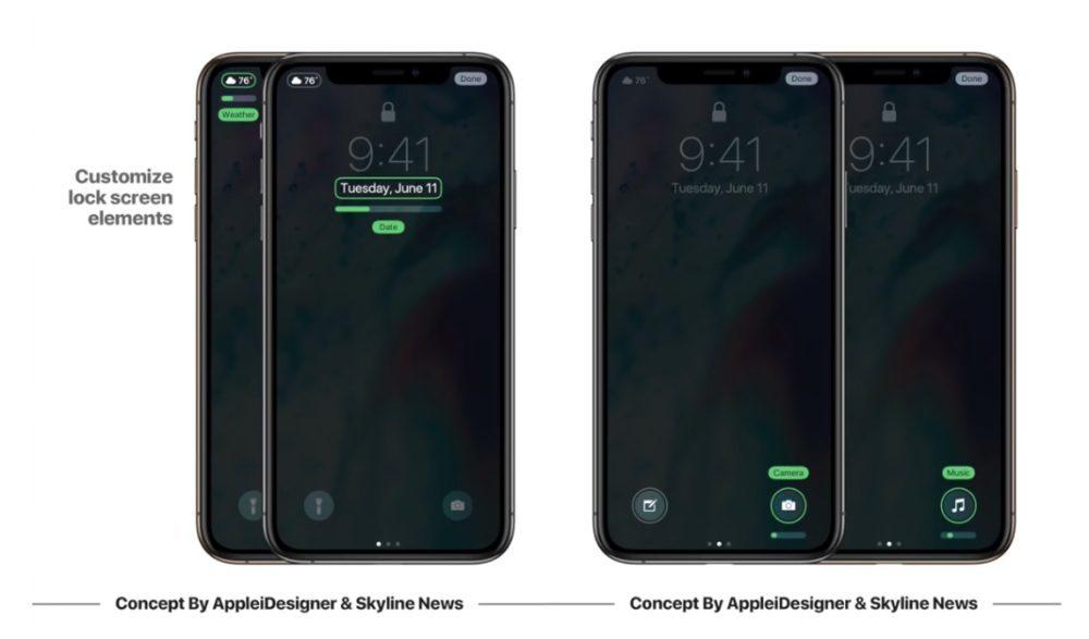 iOS 13 Concept iPhone X Ecran Modifie 1000x587 Un concept iOS 13 imagine un mode nuit, Siri moins intrusif, support de souris sur iPad et plus