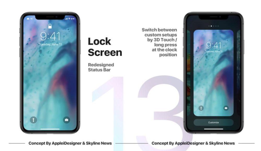 iOS 13 Concept iPhone X Ecran Verrouille 1000x580 Un concept iOS 13 imagine un mode nuit, Siri moins intrusif, support de souris sur iPad et plus