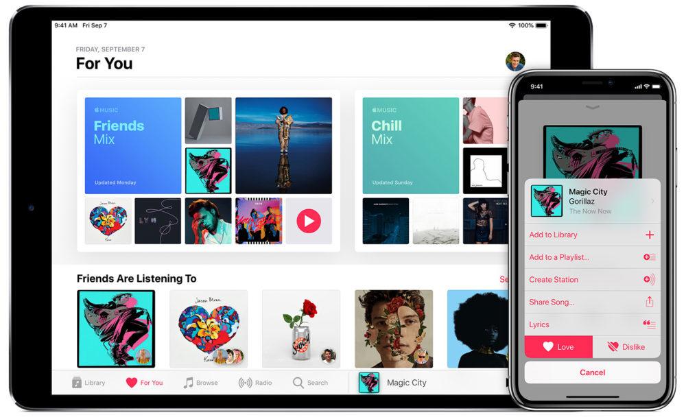 iPhone X iPad Pro Apple Music 1000x608 Les abonnés Apple Music peuvent offrir un mois de service gratuit à leurs amis