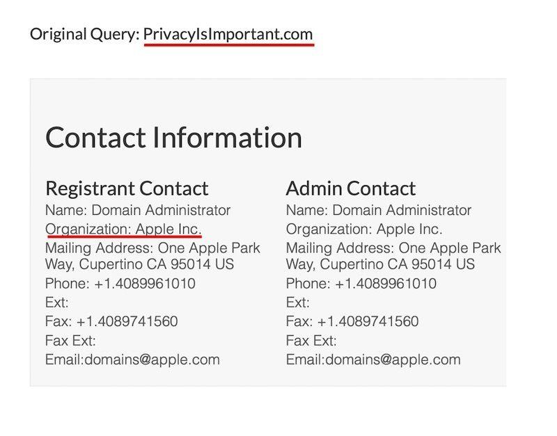 apple vie privee Apple achète le nom de domaine PrivacyIsImportant.com