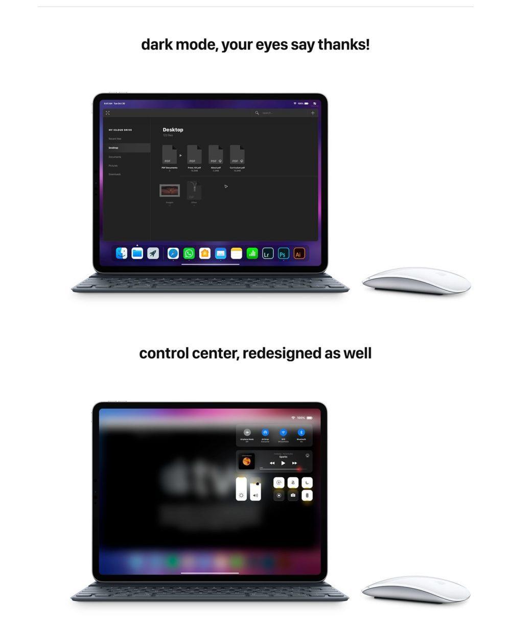 iOS 13 Concept Souris iPad 6 1000x1239 Un concept iOS 13 invente un multitâche revu, le support de la souris sur iPad et plus encore