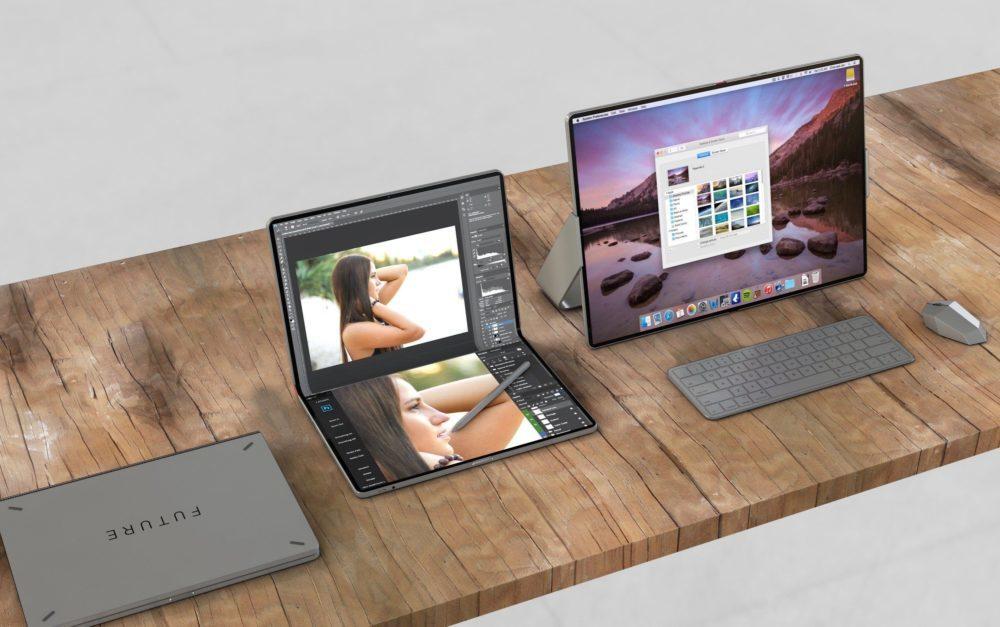 Un concept montre un hybride iPad/Mac pliable avec le support de la souris