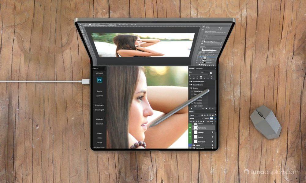 mac ipad pliable hybride 2 1000x600 Un concept montre un hybride iPad/Mac pliable avec le support de la souris