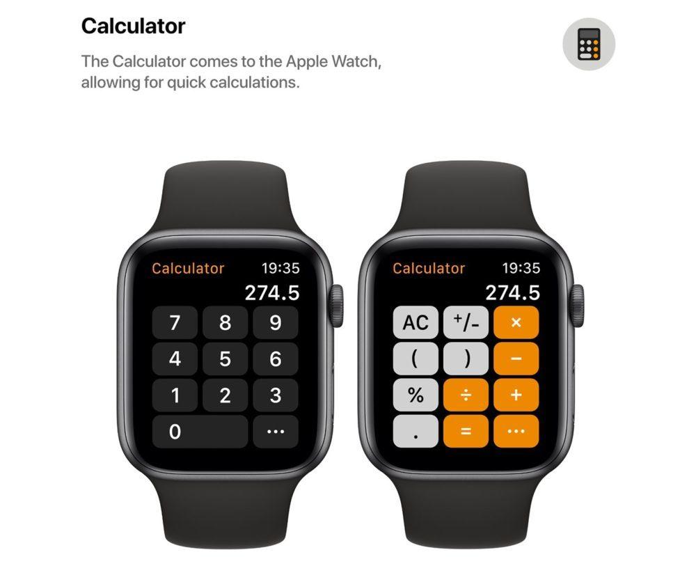 watchOS 6 Concept App Calculette 1000x813 Un concept watchOS 6 qui imagine de nouveaux cadrans, de nouvelles applications et plus
