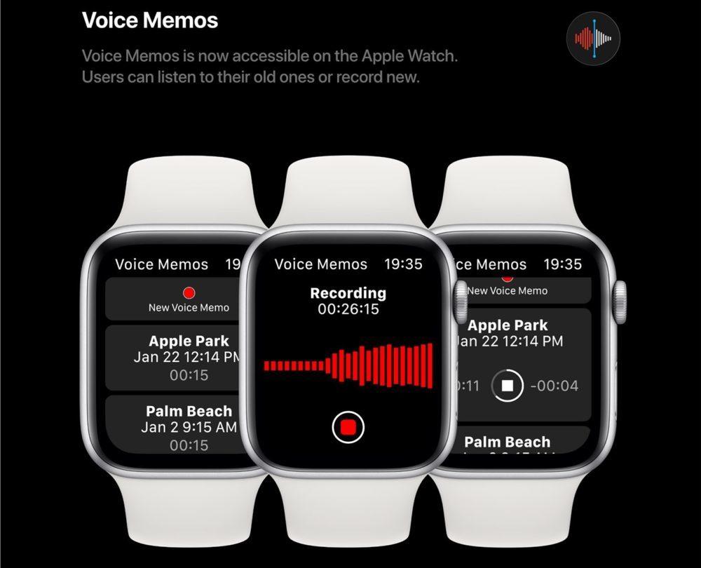 watchOS 6 Concept App Dictaphone 1000x810 Un concept watchOS 6 qui imagine de nouveaux cadrans, de nouvelles applications et plus