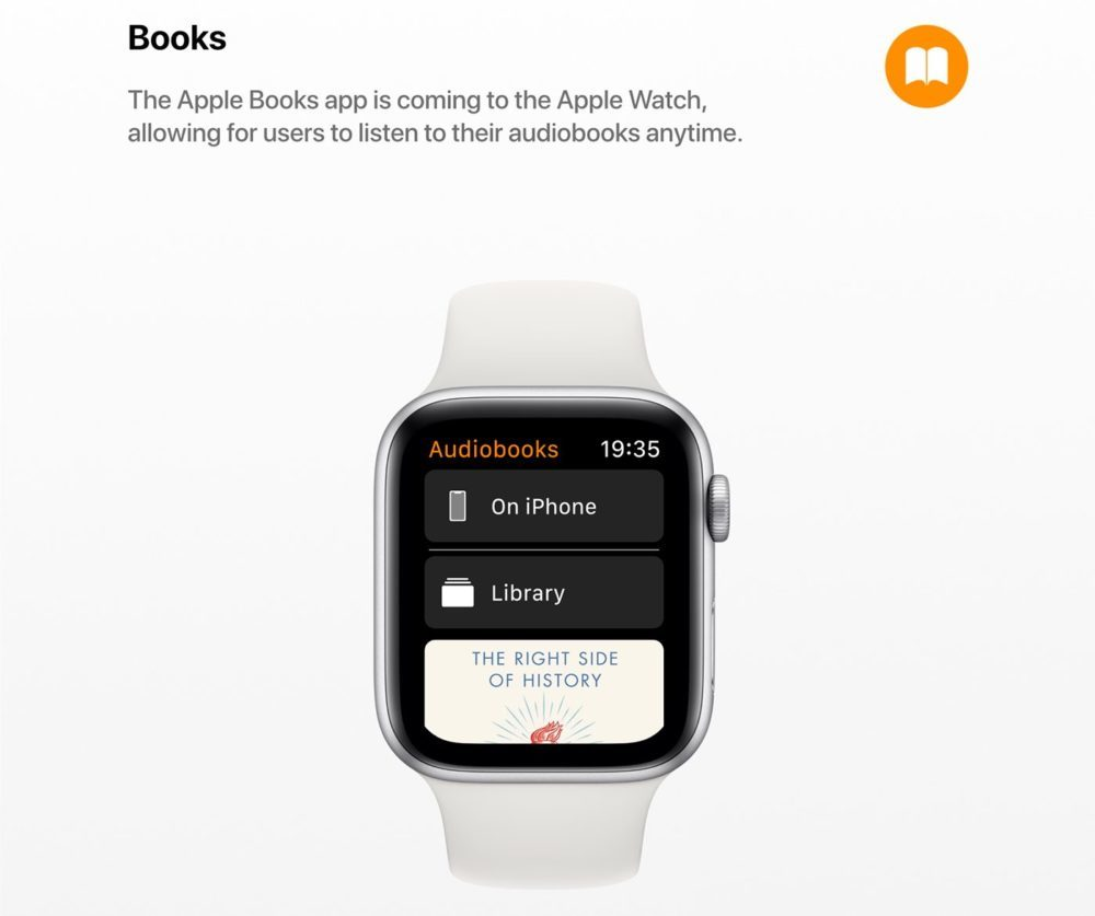 watchOS 6 Concept App Livres 1000x837 Un concept watchOS 6 qui imagine de nouveaux cadrans, de nouvelles applications et plus