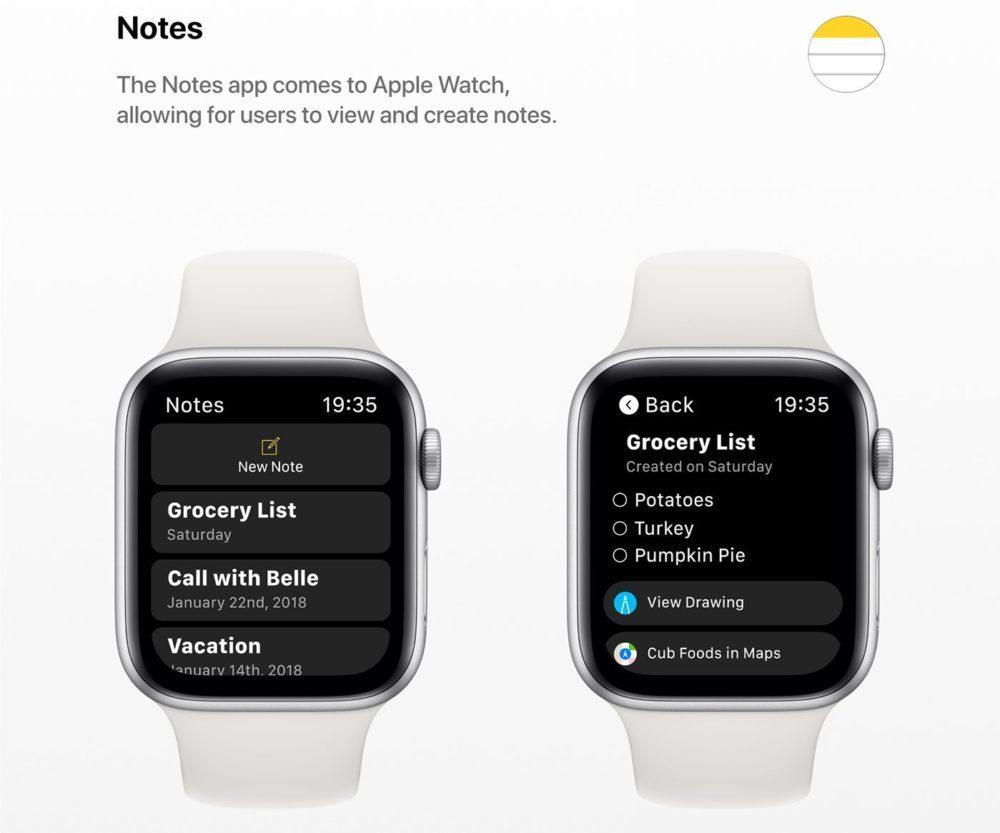 watchOS 6 Concept App Notes 1000x833 Un concept watchOS 6 qui imagine de nouveaux cadrans, de nouvelles applications et plus