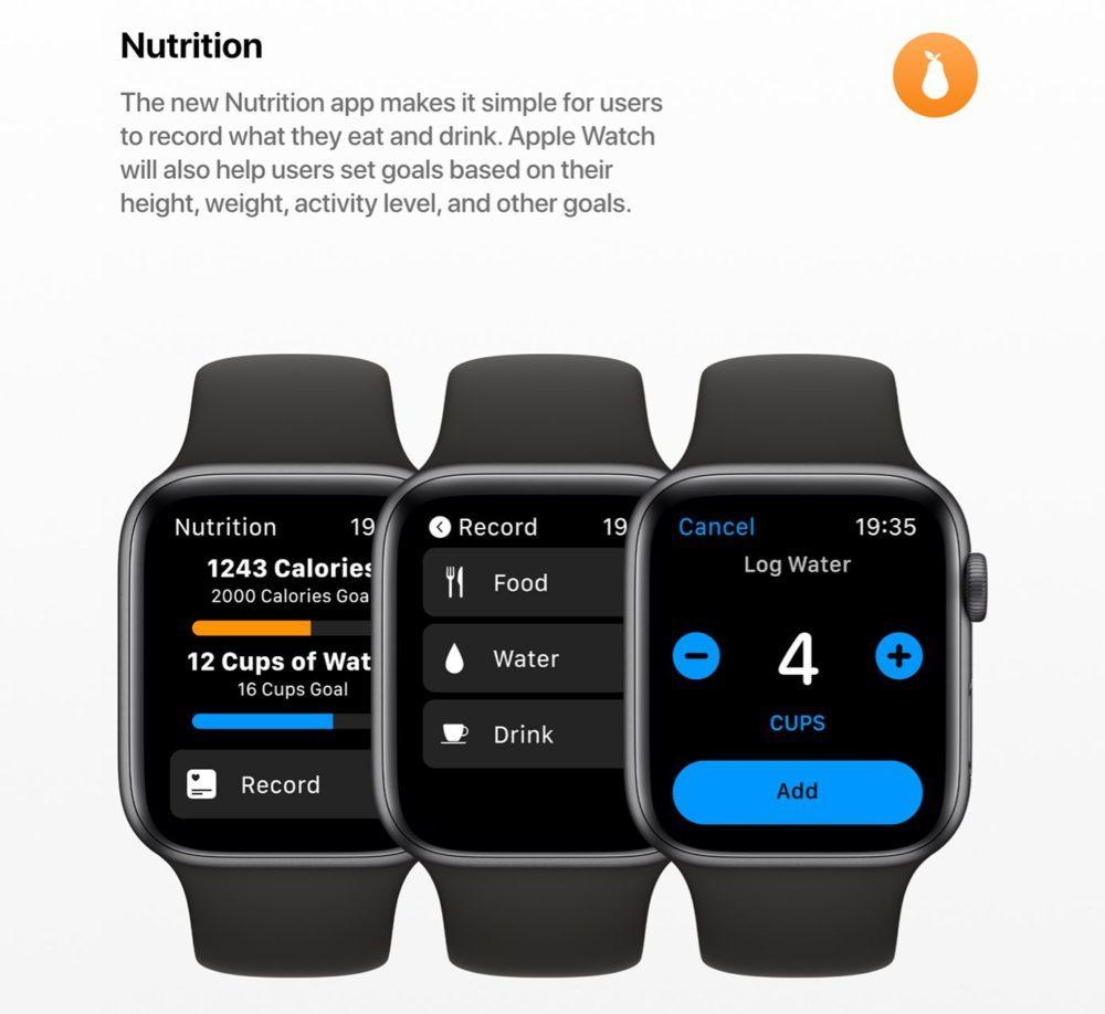 watchOS 6 Concept App Nutrition 1000x918 Un concept watchOS 6 qui imagine de nouveaux cadrans, de nouvelles applications et plus