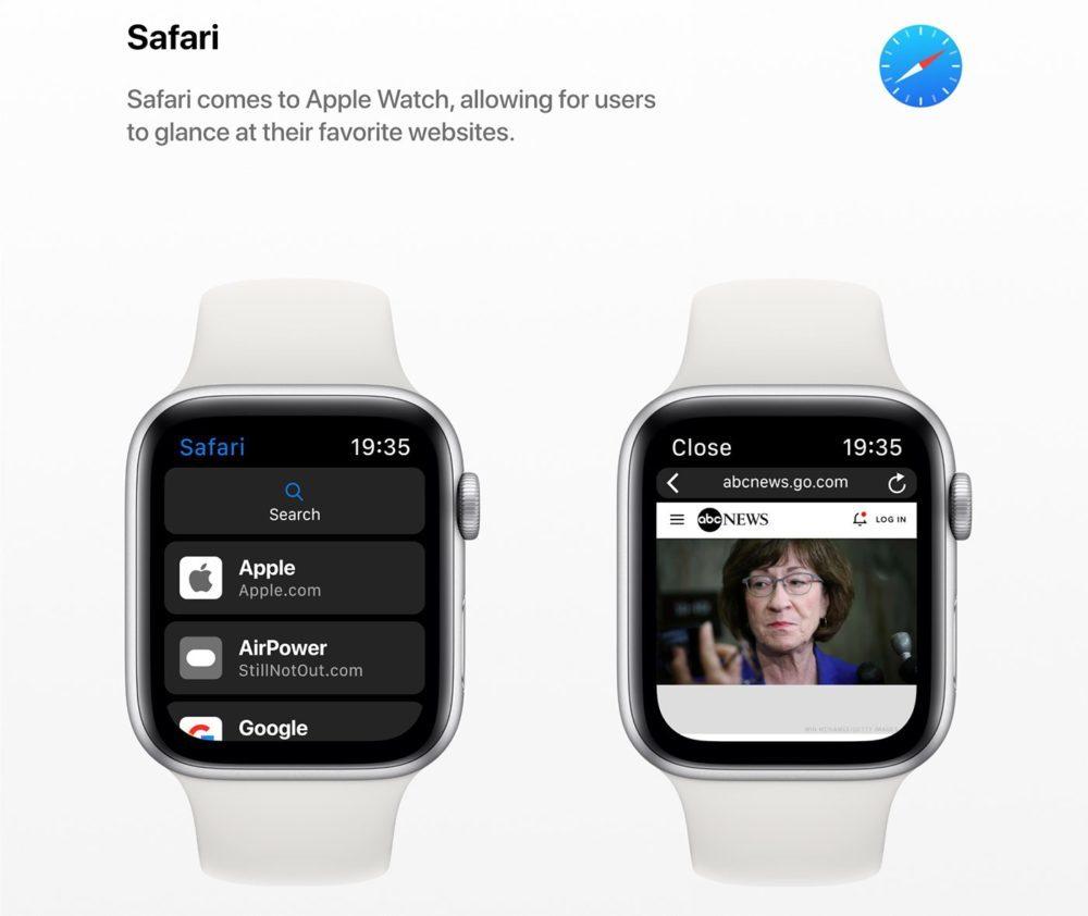 watchOS 6 Concept App Safari 1000x842 Un concept watchOS 6 qui imagine de nouveaux cadrans, de nouvelles applications et plus