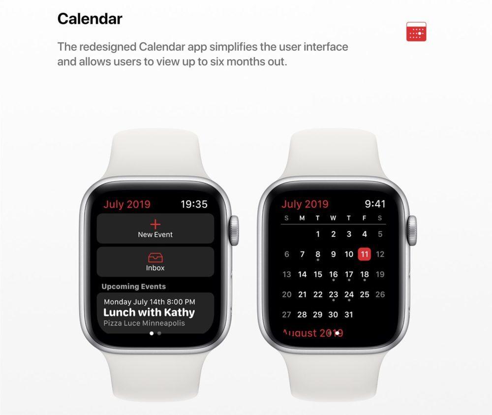 watchOS 6 Concept Calendrier 1000x843 Un concept watchOS 6 qui imagine de nouveaux cadrans, de nouvelles applications et plus