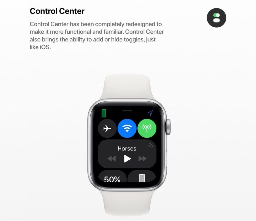 watchOS 6 Concept Centre de Controle 1000x864 Un concept watchOS 6 qui imagine de nouveaux cadrans, de nouvelles applications et plus