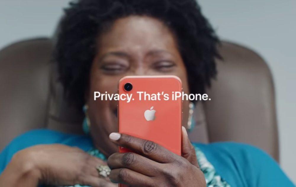 iPhone XR Pub Privacy 1000x632 Deux nouvelles vidéos pour vanter lautonomie de liPhone XR et le cryptage diMessage