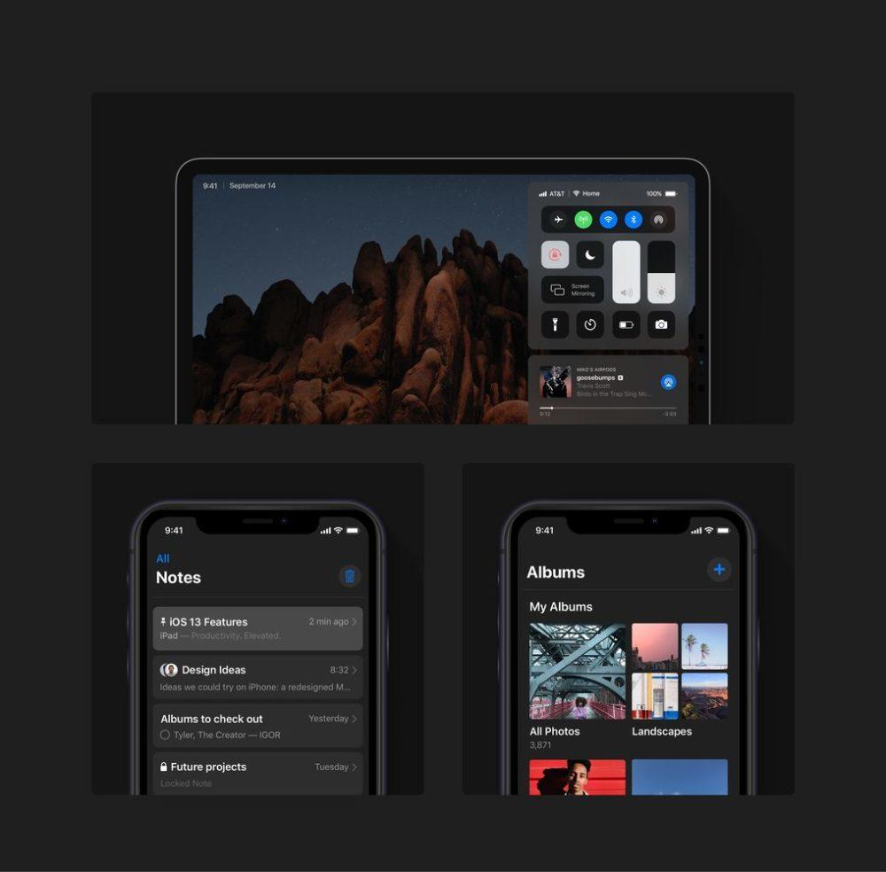 ios 13 concept dark mode ipad iphone 1000x984 iOS 13 : un concept rassemble les fonctionnalités quApple pourrait dévoile à la WWDC