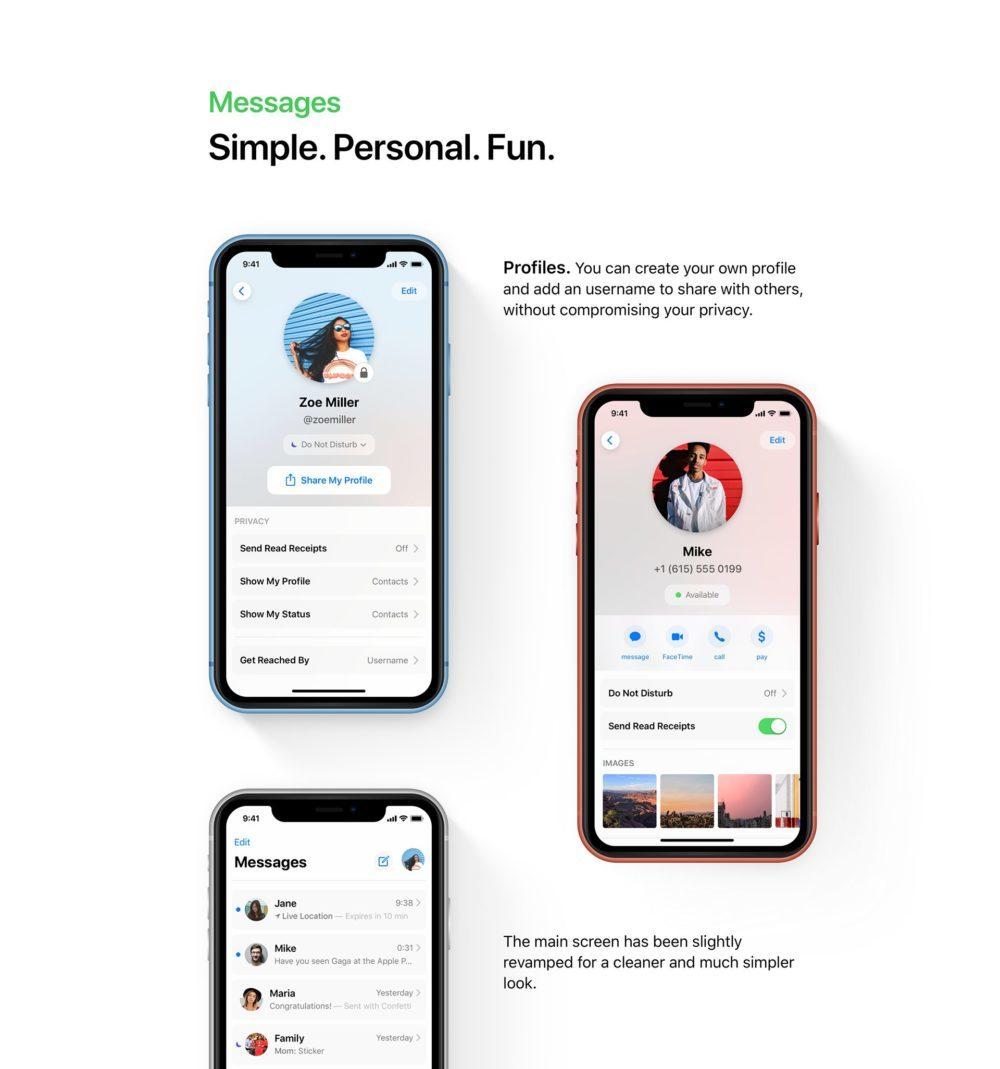 ios 13 concept iMessage 1000x1069 iOS 13 : un concept rassemble les fonctionnalités quApple pourrait dévoile à la WWDC