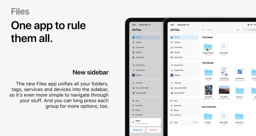 ios 13 files app 1000x533 iOS 13 : un concept rassemble les fonctionnalités quApple pourrait dévoile à la WWDC