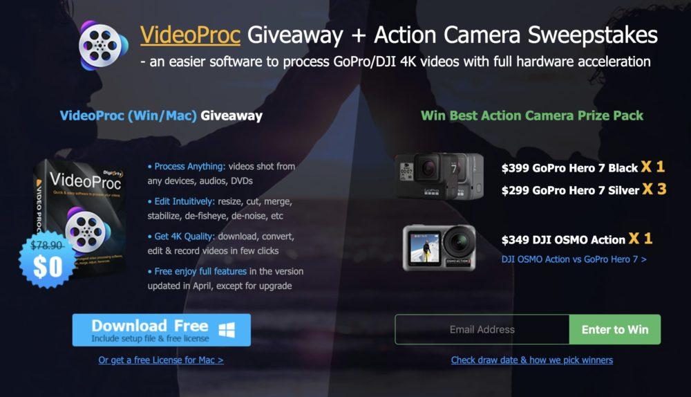 videoproc [CONCOURS] GoPro Hero 7 + DJI OSMO Action [BONUS] obtenez une licence gratuite de VideoProc