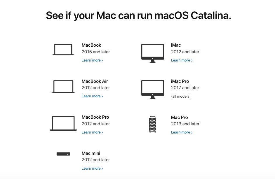 Mac Compatibles macOS Catalina 10 15 Liste des Mac qui sont compatibles avec macOS Catalina 10.15