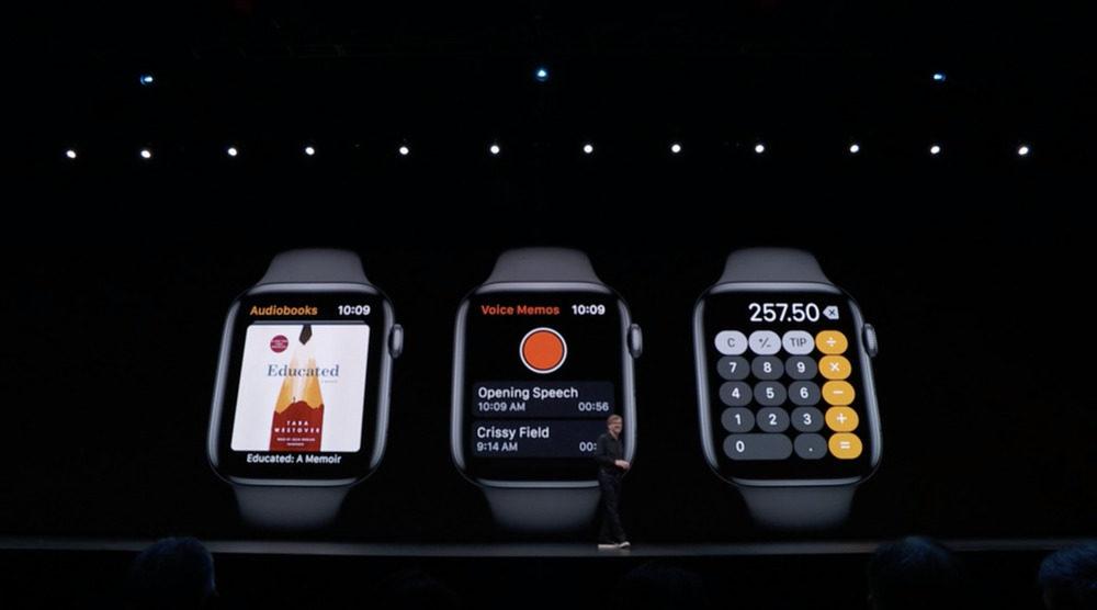 WWDC 2019 watchOS 6 Livres Audio Calculatrice Dictaphone 1000x556 WWDC 2019 : watchOS 6 débarque avec un App Store dédié, de nouveaux cadrans et complications