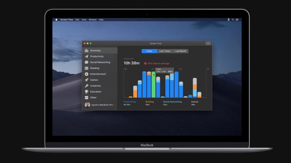 WWDC macOS Catalina 10 15 Temps Ecran 1000x562 WWDC 2019 : macOS Catalina 10.15 annoncé ; adieu iTunes, arrivée de Musique, Podcasts, TV, Find My