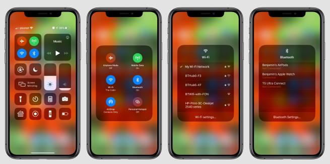 iOS 13 Choisir WiFi Centre de Controle iOS 13 : choisir un réseau Wi Fi ou un appareil Bluetooth depuis le Centre de contrôle