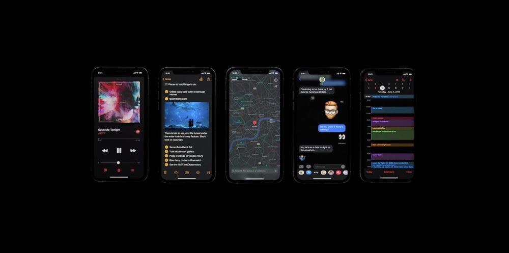 iOS 13 Mode Sombre 1000x497 WWDC 2019 : iOS 13 arrive avec le mode sombre, nouveau clavier et plus encore