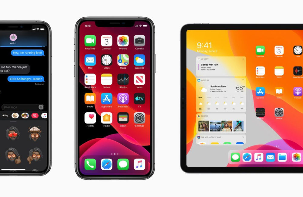 iPhone XS XS Max iOS 13 iPad Pro iPadOS 13 1000x649 iOS 13.1 bêta 1 est disponible pour iPhone, iPod touch et iPad