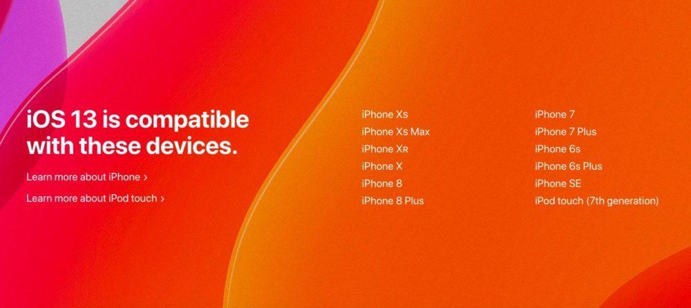 ios 13 iphone ipod compatibles 1000x446 Voici la liste des iPhone et iPod touch compatibles iOS 13