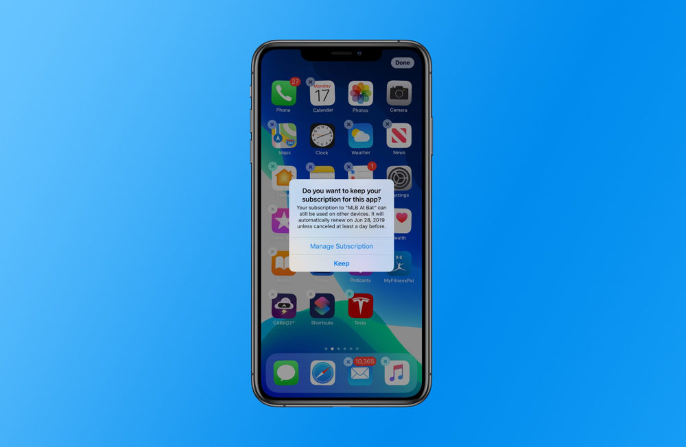 ios 13 subscription 1000x652 iOS 13 vous alerte si vous supprimez une application qui a un abonnement en cours
