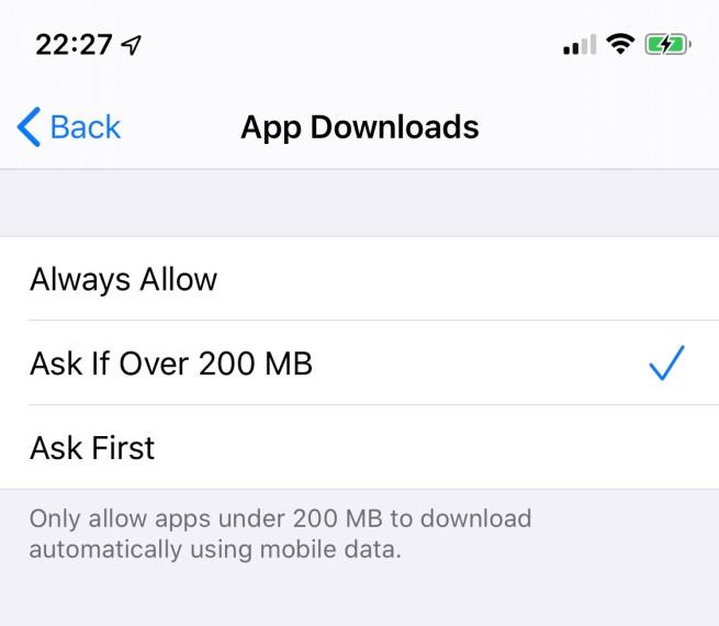 ios 13 supprime limite telechargement iOS 13 élimine la limite de téléchargement de 200 Mo en 3G/4G sur lApp Store et liTunes Store