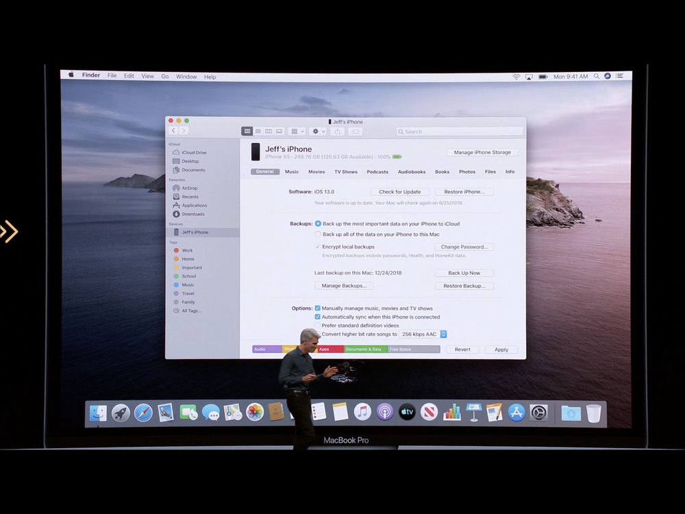 wwdc 2019 macos catalina synchro finder 1000x750 WWDC 2019 : macOS Catalina 10.15 annoncé ; adieu iTunes, arrivée de Musique, Podcasts, TV, Find My