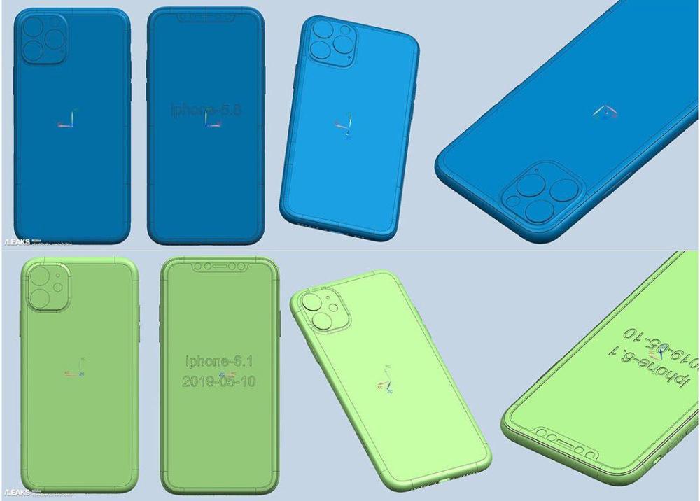 Rendus CAD iPhone 2019 1000x716 Des rendus CAD montrent le triple et le double capteur photo des iPhone de 2019