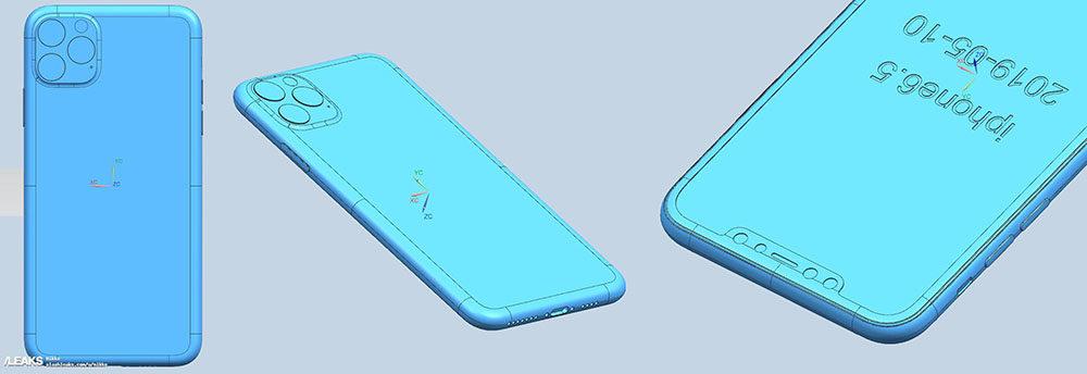 iphone xi max cad 1000x344 Des rendus CAD montrent le triple et le double capteur photo des iPhone de 2019
