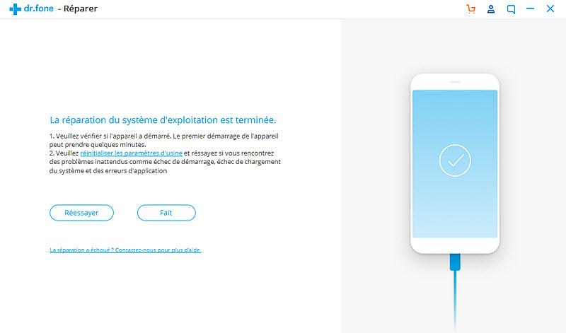 wondershare drfone reparation terminee Réparation du système Android bloqué