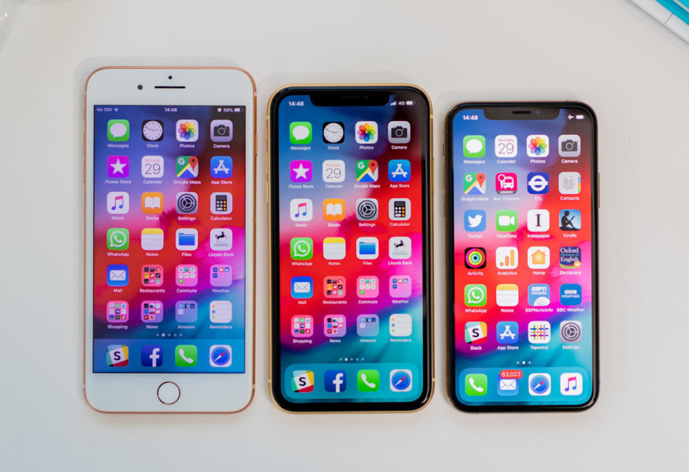 iPhone XS iPhone Xr 8 Plus 1000x686 La part de marché de l'iPhone a chuté de 17% en Europe pour le deuxième trimestre de 2019