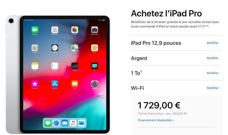 Nouveau Prix iPad Pro Apple a baissé le prix de liPad Pro avec 1 To de stockage