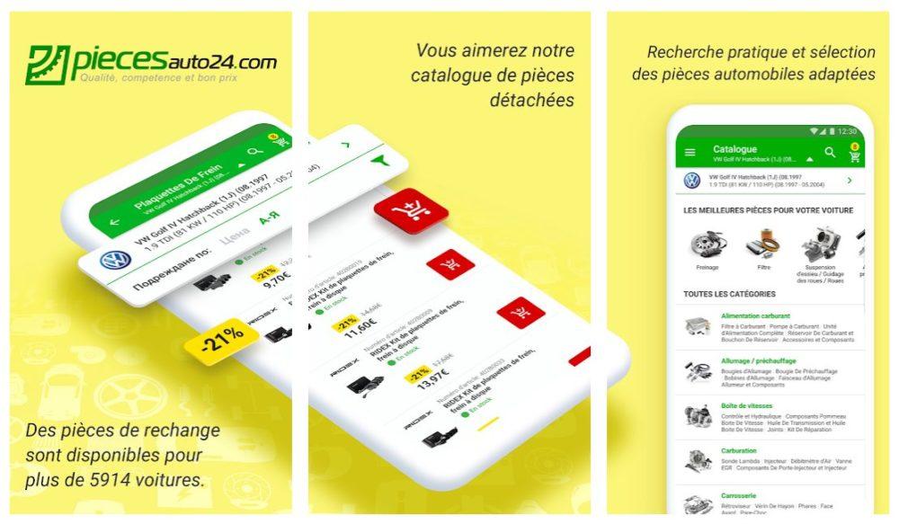 Piecesauto24 Piecesauto24, lapplication à destination des propriétaires de voiture