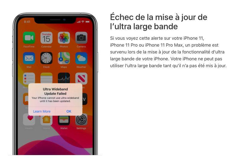 iOS 13 iPhone 11 Pro Soucis Ultra Large Bande Des soucis avec AirDrop à cause de lultra large bande sur les iPhone 11 et 11 Pro