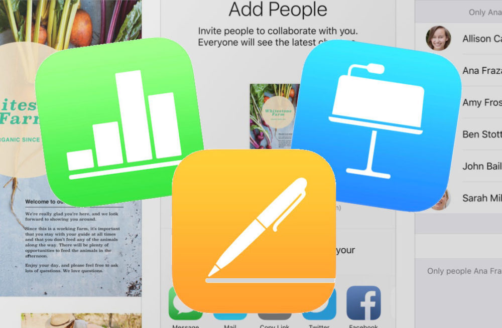 iWork iOS 1000x654 Apple met à jour Pages, Keynote, Numbers et iMovie sur iOS pour supporter le trackpad et la souris