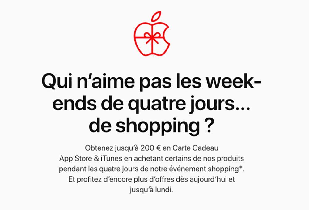 Apple Black Friday 2019 Black Friday : Apple propose jusquà 200 euros en cartes cadeaux