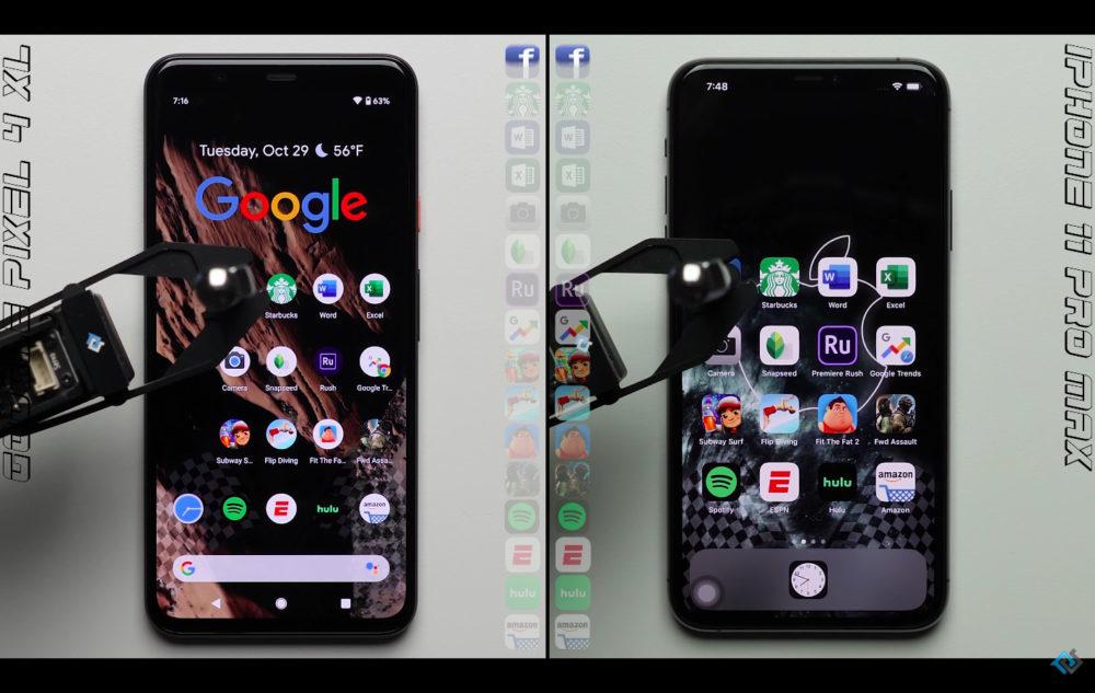 Google Pixel 4 XL iPhone 11 Pro Max Test Vitesse 1000x633 Test de rapidité : liPhone 11 Pro Max domine le Pixel 4 XL