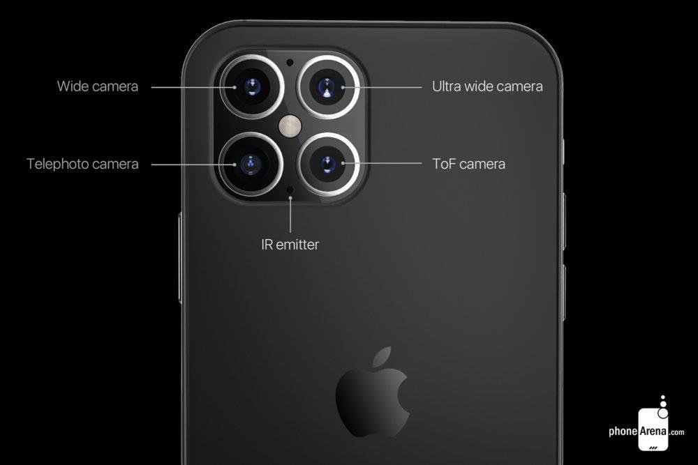 iPhone 12 rendus camera 2 1000x667 Des rendus présentent liPhone 12 avec une plus petite encoche, 4 caméras et plus