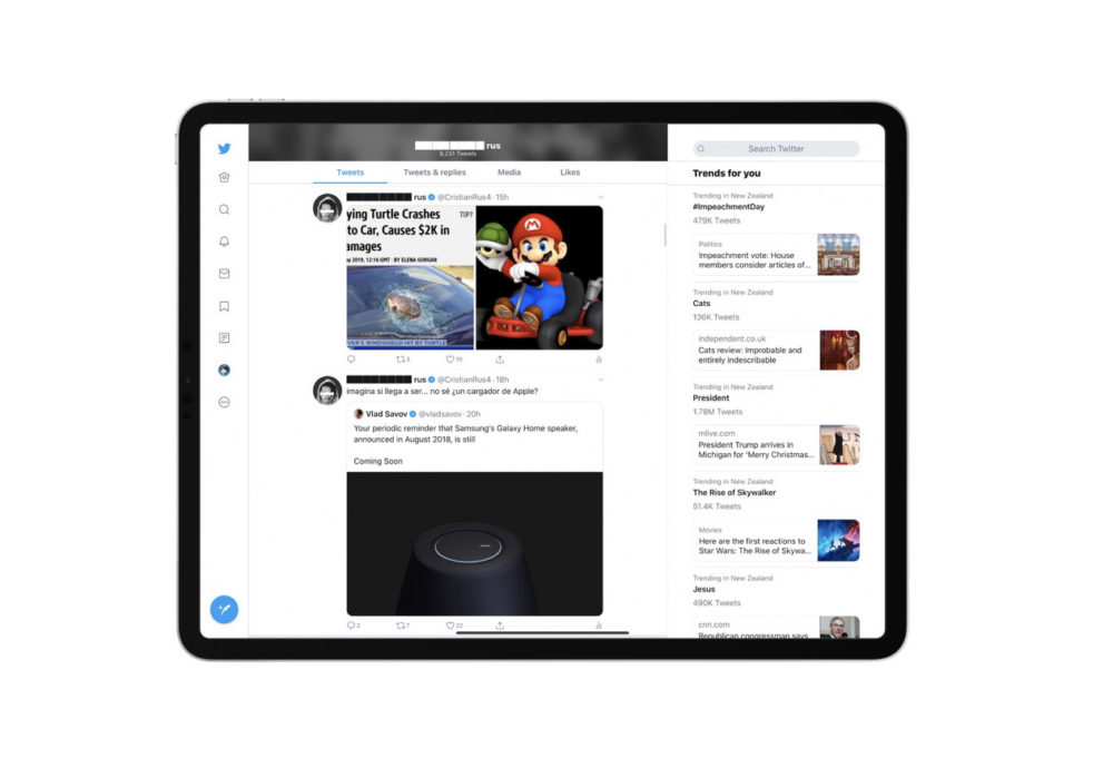 Twitter sur iPad propose une nouvelle interface qui occupe tout lécran