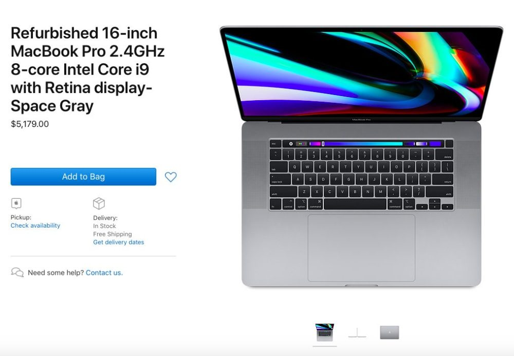 MacBook Pro 16 Pouces Reconditionne Les MacBook Pro 16 pouces reconditionnés sont disponibles à la vente aux États Unis