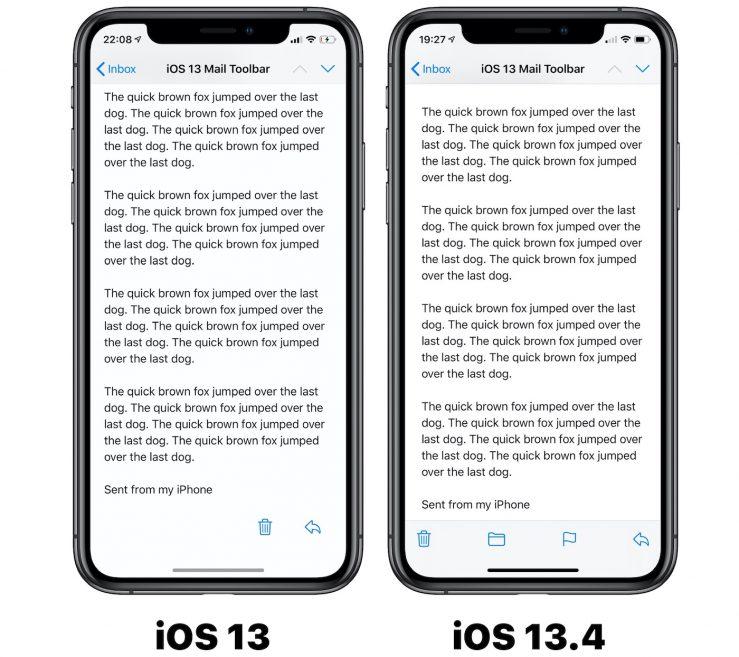 Mail Boutons iOS 13 vs iOS 13 4 iOS 13.4 bêta 1 : voici la liste des nouveautés découvertes