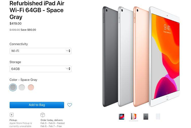 iPad Air Reconditionne Apple LiPad mini 5 et liPad Air 10,5 pouces reconditionnés sont disponibles aux États Unis