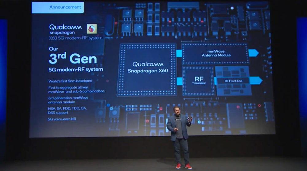 qualcomm modem 5g x60 1 Le modem 5G X60 avec une vitesse de plus de 7 Go/s est annoncé par Qualcomm : liPhone 12 serait bénéficiaire