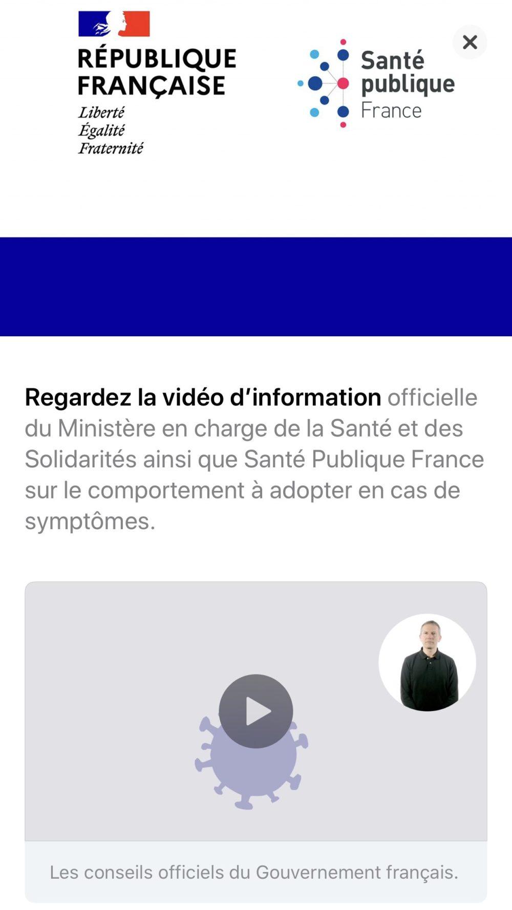 App Store Coronavirus Message Gouvernement Francais COVID 19 : lApp Store français publie un message du gouvernement