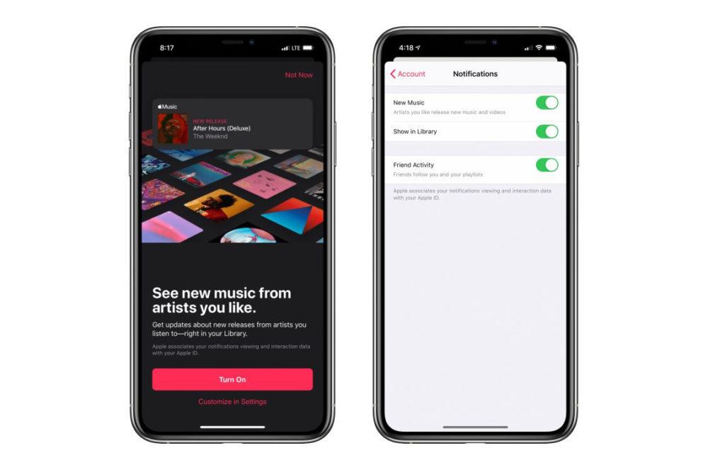 Apple Music Notifications Apple Music propose de recevoir une notification à la sortie dune musique... dun artiste favori