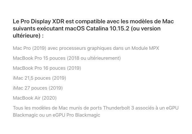 Pro Display XDR Compatible MacBook Air 2020 MacBook Air 2020 : il supporte le Pro Display XDR et les autres écrans externes 6K