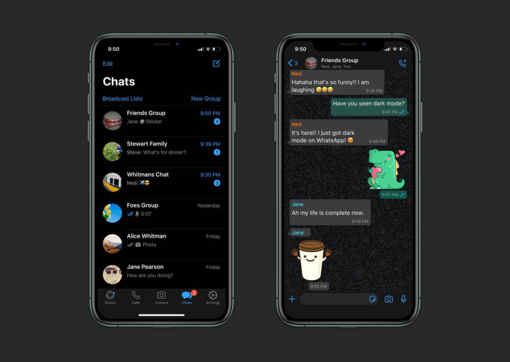 WhatsApp Mode Sombre iPhone WhatsApp : le mode sombre est disponible pour tous les utilisateurs (diOS 13)